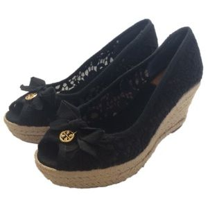 """Tory Burch """"Jackie"""" Black Lace Espadrille Wedges"""
